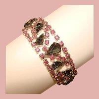 Fabulous PINK & SMOKE Vintage Rhinestone Bracelet