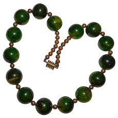 Fabulous Green BAKELITE Smooth Bead Necklace - Marbled Prystal & Amber Colors - Large 18mm Beads
