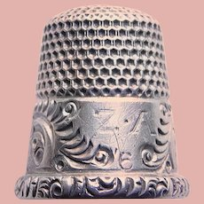 Antique Sterling Engraved ZA Fancy Patterned Design Sewing Thimble - Ketcham & McDougall - Size 6