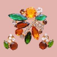 Fabulous Green Brown & Amber Rhinestone Brooch & Earrings Set - Open Backed Stones - Autumn Fall Colors