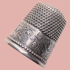 Antique Sterling Lily of the Valley Design Sewing Thimble - Ketcham & McDougall - Size 9