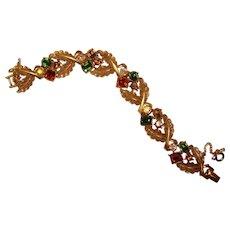 Gorgeous CORO Signed Color Rhinestone Vintage Bracelet