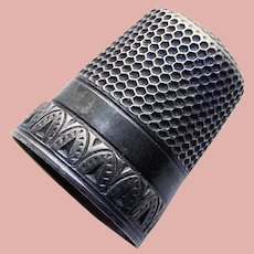 Antique Sterling Dark Patina Sewing Thimble - Signed - Size 9