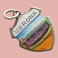 800 Silver & Enamel VERONA Charm - Souvenir of Italy - Travel Shield