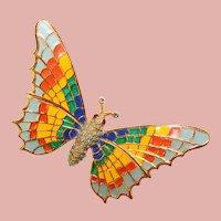 Fabulous CINER Colorful Butterfly Enamel Wings Vintage Brooch