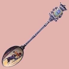 800 Silver & Enamel Bowl Matador Bullfighter Spoon - Souvenir of San Sebastian Spain