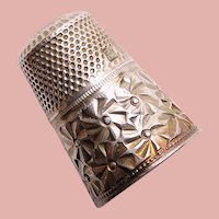 Antique Sterling Germany Flower Design Sewing Thimble - Size 4