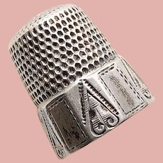 Antique Sterling Sewing Thimble - Simon Bros - Size 7