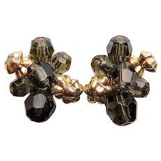 Fabulous HATTIE CARNEGIE Smoke Glass Beads Clip Earrings