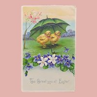 Antique Easter CHICKS UNDER UMBRELLA Postcard - Printed in Germany