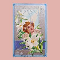 Antique Easter Angel & Lily Postcard