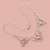 Gorgeous Satin Glass Stones Vintage Necklace - Pastel Colors