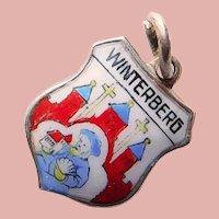 800 Silver & Enamel WINTERBERG Charm - Souvenir of Germany - Travel Shield