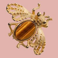Awesome Little BEE Tiger Eye Belly Vintage Brooch - Signed LC