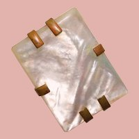 Gorgeous Mother of Pearl Vintage Dress Clip Brooch