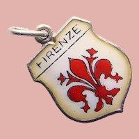 800 Silver & Enamel FLORENCE Firenze Charm - Souvenir of Italy - Travel Shield