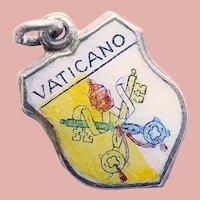800 Silver & Enamel VATICAN Vaticano Charm - Souvenir of Italy - Travel Shield
