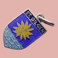 800 Silver & Enamel ST GILGEN Charm - Souvenir of Austria - Travel Shield