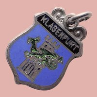 Sterling & Enamel KLAGENFURT Charm - Souvenir of Austria - Travel Shield