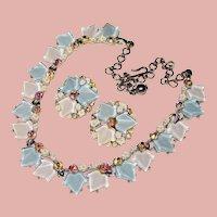 Fabulous Signed AQUA & WHITE Ivy Leaf Stones Vintage Rhinestone Necklace Set