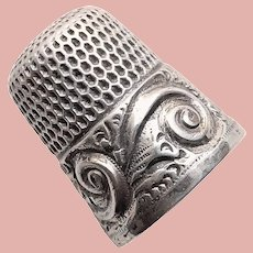 Antique Sterling Engraved Initial A Swirl Design Sewing Thimble - Simons Bros - Size 9