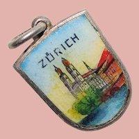 800 Silver & Enamel ZURICH Charm - Souvenir of Switzerland - Travel Shield