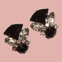 Fabulous BLACK & SMOKE Color Rhinestone Vintage Earrings