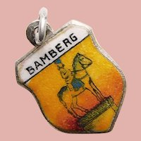 800 Silver & Enamel BAMBERG Charm - Souvenir of Germany - Travel Shield