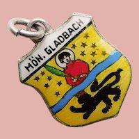 800 Silver & Enamel MONCHENGLADBACH Charm - Souvenir of Germany - Travel Shield