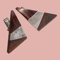 Mid Century ESTHER LEWITTES Sterling & Wood Vintage Triangle Cufflinks - Modernist