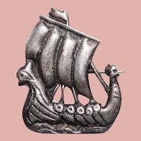 Gorgeous IONA STERLING Viking Ship Boat Brooch - CAI Celtic Art Industries - Scotland Scottish