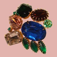 Gorgeous RIOT OF COLOR Vintage Rhinestone Brooch