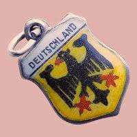 800 Silver & Enamel DEUTSCHLAND Charm - Souvenir of Germany - Travel Shield
