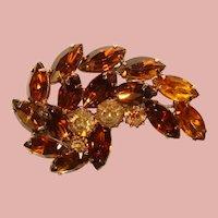 Fabulous Amber & Topaz Brown Color Vintage Rhinestone Brooch