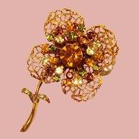 Fabulous FLOWER Fall Colors Vintage Rhinestone Brooch
