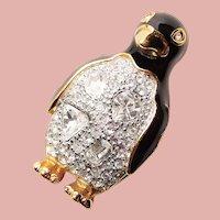 Fabulous SWAROVSKI Figural Penguin Rhinestone Enamel Brooch - Swan Mark