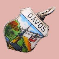800 Silver & Enamel DAVOS Charm - Souvenir of Switzerland - Travel Shield
