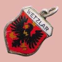 800 Silver & Enamel WETZLAR Charm - Souvenir of Germany - Travel Shield