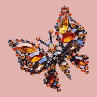 Fabulous BUTTERFLY Amber Brown & Orange Rhinestone Vintage Brooch - Autumn Fall Colors