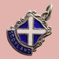 800 Silver & Enamel SCOTLAND Vintage Estate Charm - Souvenir of UK United Kingdom - Travel Shield