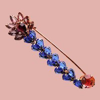 Gorgeous Rhinestone Safety Pin Design Vintage Brooch - Open Backed Stones