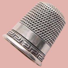 Antique Sterling Greek Key Design Sewing Thimble - Simon Bros - Size 8