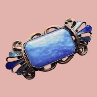 Gorgeous ART DECO Era Blue Glass Enamel Brooch
