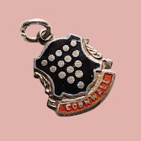 800 Silver & Enamel CORNWALL Vintage Charm - Souvenir of England Great Britain - Travel Shield