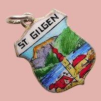 835 Silver & Enamel ST GILGEN Charm - Souvenir of Austria - Travel Shield