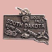 Vintage Sterling SOUTH DAKOTA Estate Charm - State Souvenir