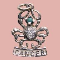 Sterling CANCER Vintage Estate Charm - Zodiac Astrology