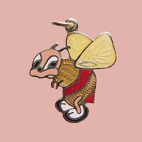 Awesome STERLING & ENAMEL Bee Vintage Charm - Mexican Sterling