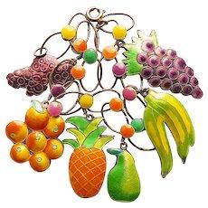 Fabulous Sterling & Enamel FRUIT Charms Bracelet - Grapes Pear Oranges Pineapple Berry Bananas