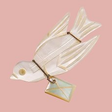 Fabulous Antique Messenger BIRD with Love letter Brooch - Carved Mother of Pearl - Figural